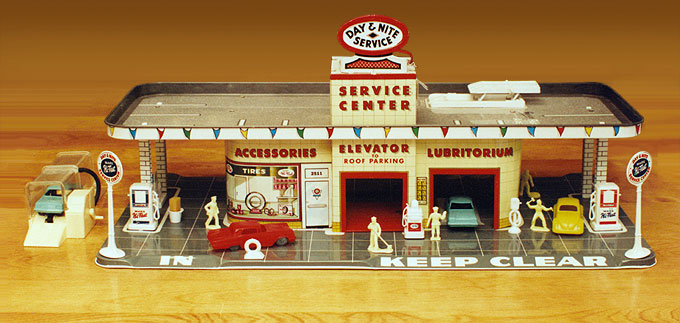 Early 1950s toy gas station and garage.